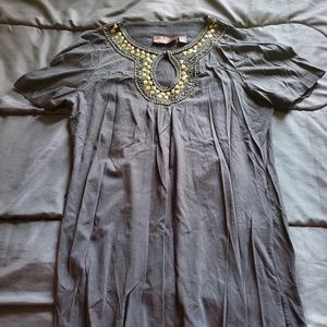 women MEd top black long length, rhinestone design